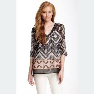 Pleione | Aztec print peasant blouse | S